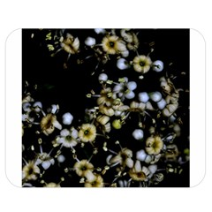 Little White Flowers 2 Double Sided Flano Blanket (medium)  by timelessartoncanvas