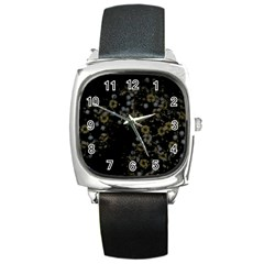 Little White Flowers 3 Square Metal Watch by timelessartoncanvas