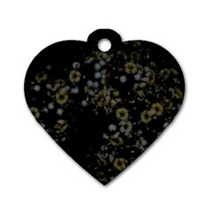 Little White Flowers 3 Dog Tag Heart (two Sides) by timelessartoncanvas