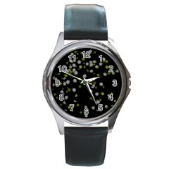 Little White And Green Dots Round Metal Watch by timelessartoncanvas