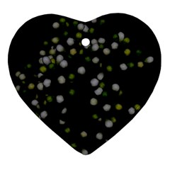 Little White And Green Dots Ornament (heart)  by timelessartoncanvas