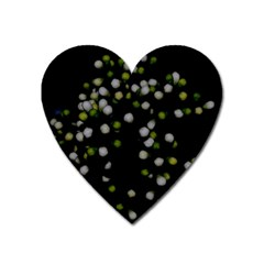 Little White And Green Dots Heart Magnet by timelessartoncanvas