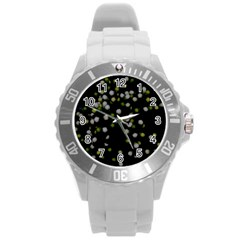 Little White And Green Dots Round Plastic Sport Watch (l) by timelessartoncanvas