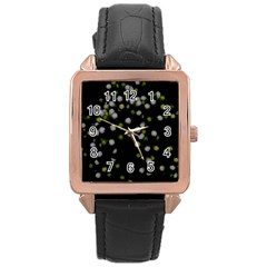 Little White And Green Dots Rose Gold Leather Watch  by timelessartoncanvas