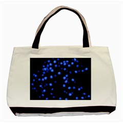 Little Blue Dots Basic Tote Bag by timelessartoncanvas