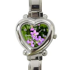 Little Purple Flowers Heart Italian Charm Watch by timelessartoncanvas