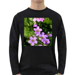 Little Purple Flowers Long Sleeve Dark T Shirts by timelessartoncanvas