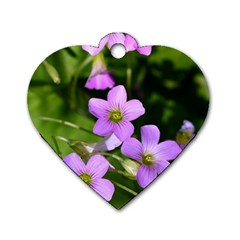 Little Purple Flowers Dog Tag Heart (two Sides) by timelessartoncanvas