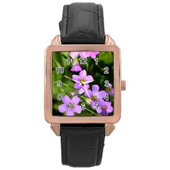 Little Purple Flowers Rose Gold Leather Watch  by timelessartoncanvas