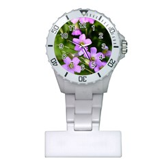 Little Purple Flowers Plastic Nurses Watch by timelessartoncanvas