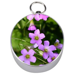 Little Purple Flowers Silver Compasses by timelessartoncanvas
