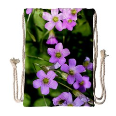 Little Purple Flowers Drawstring Bag (large) by timelessartoncanvas