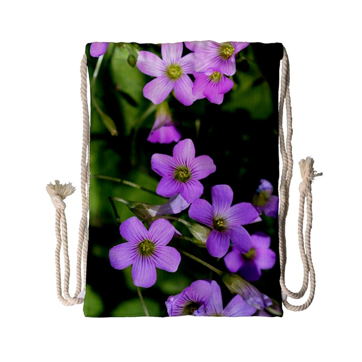 Little Purple Flowers Drawstring Bag (Small)