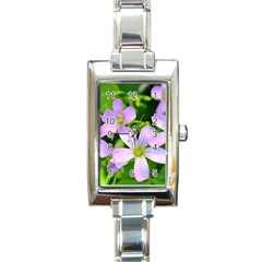 Little Purple Flowers 2 Rectangle Italian Charm Watch by timelessartoncanvas