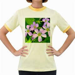 Little Purple Flowers 2 Women s Fitted Ringer T Shirts by timelessartoncanvas