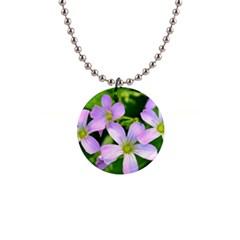 Little Purple Flowers 2 Button Necklaces by timelessartoncanvas