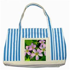 Little Purple Flowers 2 Striped Blue Tote Bag by timelessartoncanvas