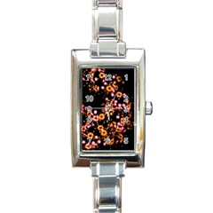 Little Peach And Pink Flowers Rectangle Italian Charm Watch by timelessartoncanvas
