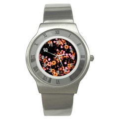 Little Peach And Pink Flowers Stainless Steel Watch by timelessartoncanvas