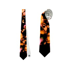 Little Peach And Pink Flowers Neckties (one Side)  by timelessartoncanvas