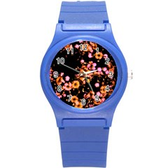 Little Peach And Pink Flowers Round Plastic Sport Watch (s) by timelessartoncanvas