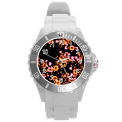 Little Peach And Pink Flowers Round Plastic Sport Watch (l) by timelessartoncanvas