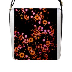 Little Peach And Pink Flowers Flap Messenger Bag (l)  by timelessartoncanvas