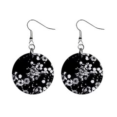Little Black And White Flowers Mini Button Earrings by timelessartoncanvas