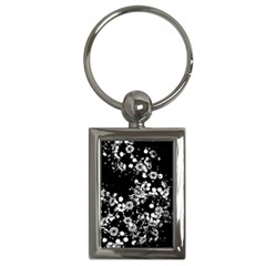 Little Black And White Flowers Key Chains (rectangle)  by timelessartoncanvas