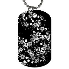 Little Black And White Flowers Dog Tag (one Side) by timelessartoncanvas
