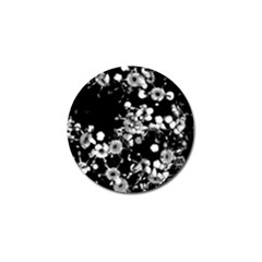 Little Black And White Flowers Golf Ball Marker by timelessartoncanvas