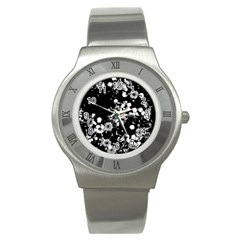 Little Black And White Flowers Stainless Steel Watch by timelessartoncanvas