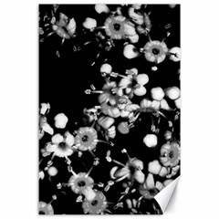 Little Black And White Flowers Canvas 24  X 36  by timelessartoncanvas