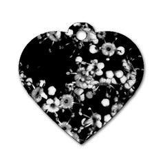 Little Black And White Flowers Dog Tag Heart (two Sides) by timelessartoncanvas