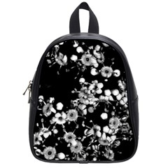 Little Black And White Flowers School Bags (small)  by timelessartoncanvas