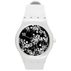 Little Black And White Flowers Round Plastic Sport Watch (m) by timelessartoncanvas