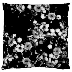 Little Black And White Flowers Large Cushion Case (one Side) by timelessartoncanvas