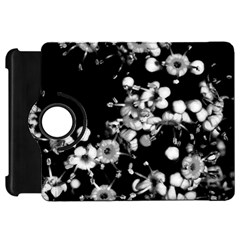 Little Black And White Flowers Kindle Fire Hd Flip 360 Case by timelessartoncanvas