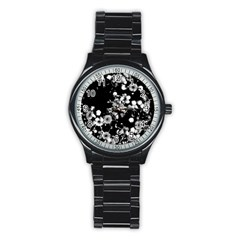 Little Black And White Flowers Stainless Steel Round Watch by timelessartoncanvas