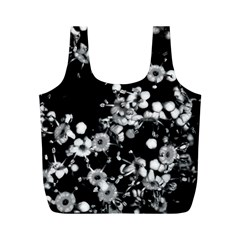 Little Black And White Flowers Full Print Recycle Bags (m)  by timelessartoncanvas