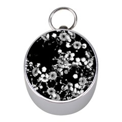 Little Black And White Flowers Mini Silver Compasses by timelessartoncanvas