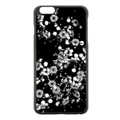 Little Black And White Flowers Apple Iphone 6 Plus/6s Plus Black Enamel Case by timelessartoncanvas