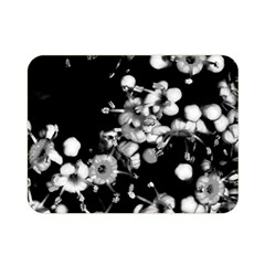 Little Black And White Flowers Double Sided Flano Blanket (mini)  by timelessartoncanvas