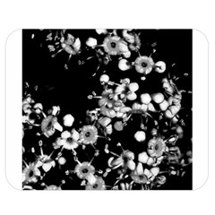 Little Black And White Flowers Double Sided Flano Blanket (medium)  by timelessartoncanvas