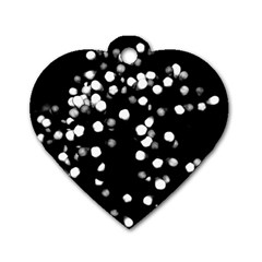 Little Black And White Dots Dog Tag Heart (one Side) by timelessartoncanvas