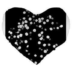 Little Black And White Dots Large 19  Premium Flano Heart Shape Cushions by timelessartoncanvas