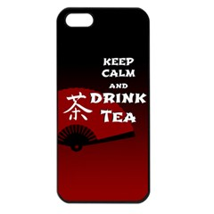 Keep Calm And Drink Tea   Dark Asia Edition Apple Iphone 5 Seamless Case (black)