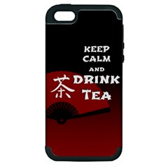 Keep Calm And Drink Tea   Dark Asia Edition Apple Iphone 5 Hardshell Case (pc+silicone)