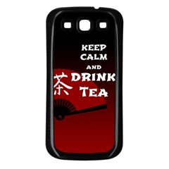 Keep Calm And Drink Tea   Dark Asia Edition Samsung Galaxy S3 Back Case (black)