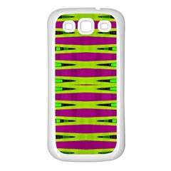 Bright Green Pink Geometric Samsung Galaxy S3 Back Case (white) by BrightVibesDesign